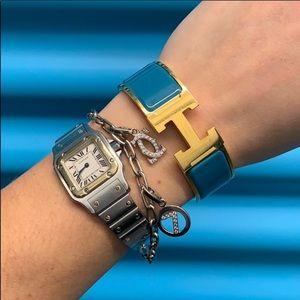 Hermes PM Clic Clac H Teal Bracelet